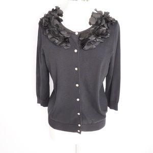 Cable & Gauge Black Button Up Sweater